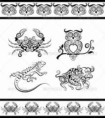animal ornaments owl crab bull iguana by comicvector703