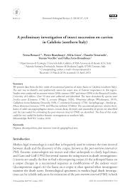 a preliminary investigation of insect succession on carrion in