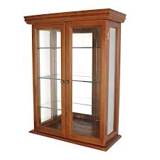 large oak curio cabinet and lighted for sale plus wood display