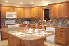 traditional kitchen design with brown mahogany wood island and
