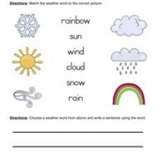 weather words worksheet 1 matching