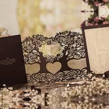wedding invitations luxury luxury brown tree wedding invitations laser cutting