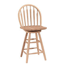 Wooden Swivel Bar Stool International Concepts Double X Back 24 In Unfinished Wood Swivel