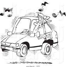 cartoon car black and white vector of cartoon man blaring rap music in his car coloring page
