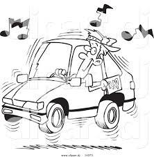 vector of cartoon man blaring rap music in his car coloring page
