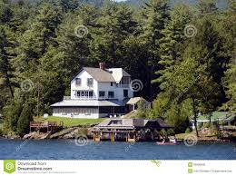 luxury lakefront home stock photo image 26096840