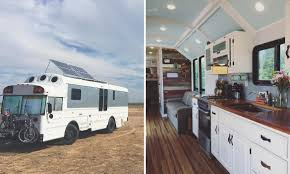 bus conversion transforms the vehicle into spacious tiny home