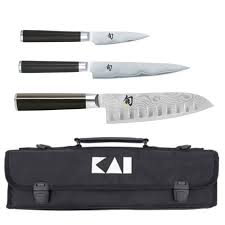 Japanese Kitchen Knives Uk Kai Japanese Pack With 3 Knives Bag Shun Classic