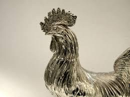 antique german continental silver rooster cockerel model english