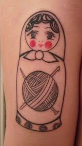 russian doll tattoo matryoshka with thread ball tattoomagz