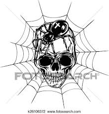 clipart of skull spider and web k26106372 search clip