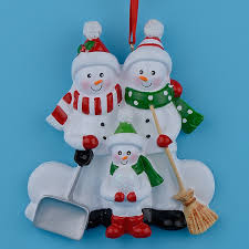 resin snowman family shovel of 3 polyresin tree