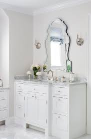 Polished Nickel Vanity Mirror Elegant Vanity Mirror With White Bath Vanity Transitional Bathroom