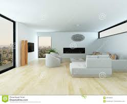 modern living room with light parquet floor stock illustration