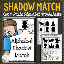 shadow matching alphabet cut paste worksheets digital
