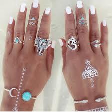 ring set 8pcs set bohemian elephants ring set turkish hippie bliss