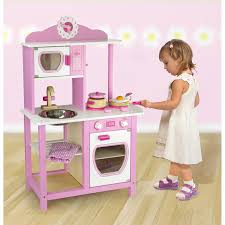 childrens kids pink wooden pretend play kitchen toy play set oven