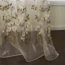 Brown Floral Curtains Curtains Sheer Curtains One Panel Country Embroidered