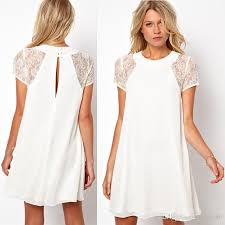 white summer dresses 2015 women chiffon white dress sleeve lace insert