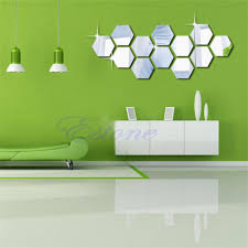 mirror style hexagon silver removable decal vinyl art wall sticker
