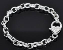 silver charm link bracelet images Link chain bracelet etsy jpg