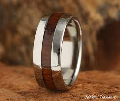 Hawaiian Wedding Rings by Koa Wood Inlaid Hawaiian Wedding Band 8mm Makani Hawaii Hawaiian