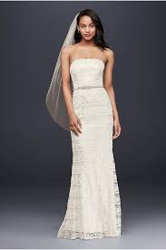 wedding dresses that you look slimmer sheath wedding dress with beading and side drape david s bridal