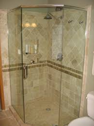 neo angle shower enclosure has the door in the center using a