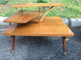 Midcentury Modern Table - three tiered mid century modern corner table attainable vintage