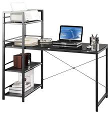 Black Tempered Glass Computer Desk Computer Desk With Shelves