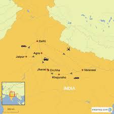 Agra India Map by Golden Triangle With Varanasi And Khajuraho Country Holidays