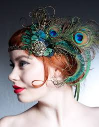 feather headband absinthe nymph flapper headband peacock feather headband 1920s