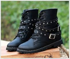 womens boots fashion footwear womens motorcycle boots combat flat biker slip on buckle rivets