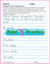 subject verb agreement worksheets person and number