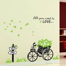 removable love joy bike bicyle flower wall stickers floral wall