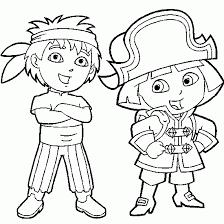 dora explorer coloring coloring dora diego pirate