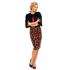 pencil skirt 50 s style pencil skirt in black strawberry