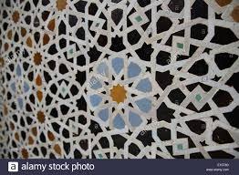 Morocco Design ornate islamic design in a mosque in marrakesh morocco stock