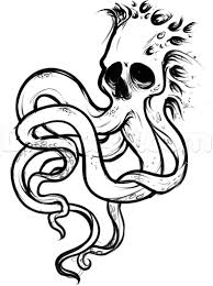 how to draw an octopus skull tattoo step by step skulls pop