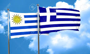 Flag Uruguay Uruguay Flag With Greece Flag 3d Rendering Stock Photo Picture