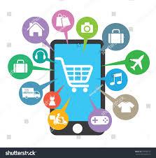 Awning Online Smartphone Awning Basket Online Shop Ecommerce Stock Vector