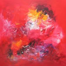 saatchi art early spring red abstract fl painting by paresh