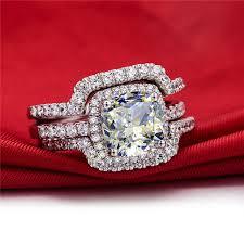 buy rings cheap images Hot luxury new bridal set wedding rings sets 3 carat d h cushion jpg
