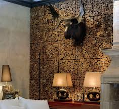 spectacular black finished faux deer head hang on wood paneling