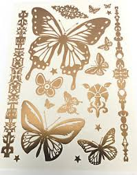waterproof temporary metallic butterfly gold flash tattoos