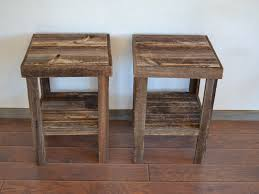 distressed wood end table eco friendly barnwood wood end table or night stand pair 360 00