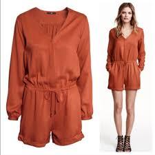 H M Draped Blouse H U0026m Dark Orange Romper Brand New Never Worn H U0026m Dark Orange V