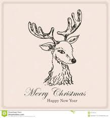 christmas card with sketch deer hand drawing illustration stock