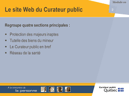 module 10 le site web du curateur 2 regroupe quatre sections