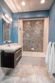 cool grey and black bathroom focal point tile blue twilight